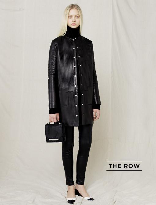 Coat ($11000, 212.826.8900) in Black Lambskin Alpaca Silk Blend Sweater ($1150, 212.826.8900) in Black Legging ($2950, 212.753.4000) in Black Lambskin Small Shoulder Bag ($5100, 212.753.7300) in...