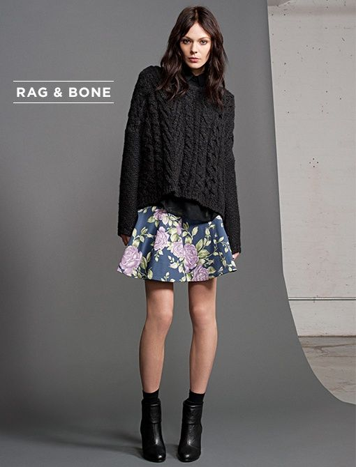 Adirondach Pullover ($395) in CharcoalJermyn Shirt ($325) in BlackKate Skirt ($395) in NavyNewbury Boots ($395) in Black
