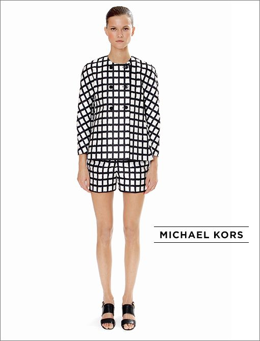 Black and White Ikat Windowpane Duchesse Swing Jacket ($1995) Black and White Ikat Windowpane Duchesse Shorts ($795) Black Python Jeweled-Heel Sandals ($1395)All available at select Michael Kors...