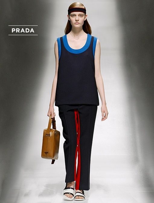 Double Cotton Top ($1095) Double Cotton Pants ($1095)Cotton Headband ($280)   Leather Bag ($1450)   Spazzolato Leather Shoes (Price Upon Request)All available now at select Prada Boutiques,...