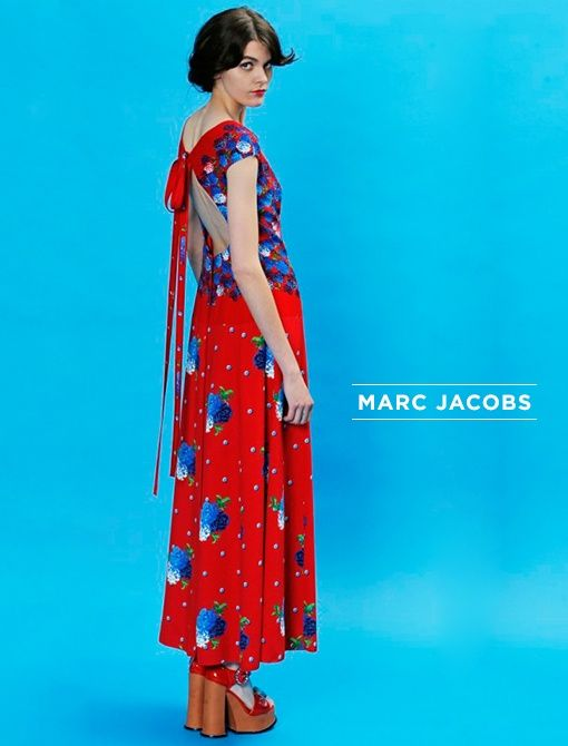 Red and Blue Satin Back Crepe Floral Degrade ($1200, 212.343.1490) Image courtesy of Marc Jacobs