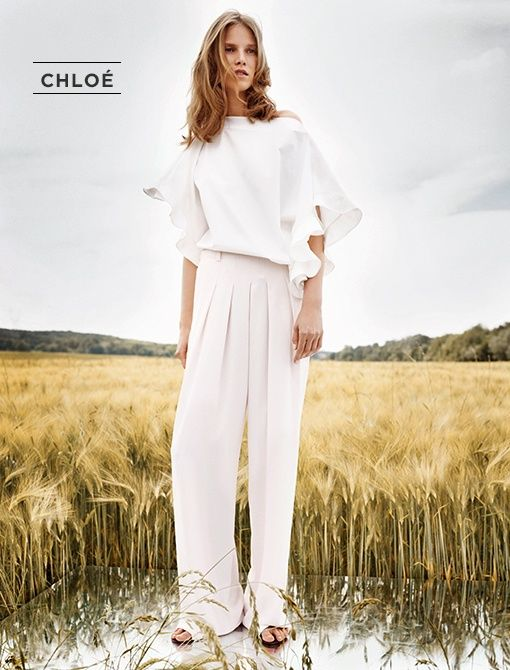 Ruffle Top ($950, 323.602.0000) in Off White  Pants ($1125, 323.602.0000) in Soft Pink   Both available now at select Chloe Boutiques  Image courtesy of Chloé