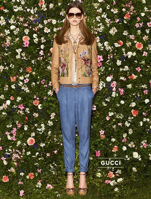 Front Button Leather Jacket with Flora Embroidery ($4500) in Khaki Natural Calf Rice Light Voile Creponne Gauze Men's Shirt  ($595) Blue Denim Tencel New Garçonne Pants ($695)High Heel Sandals...