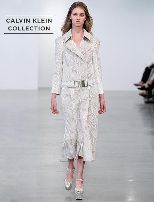 Angora Python Double Breasted Belted Coat ($11,950, 212.292.9000) Image courtesy of Calvin Klein