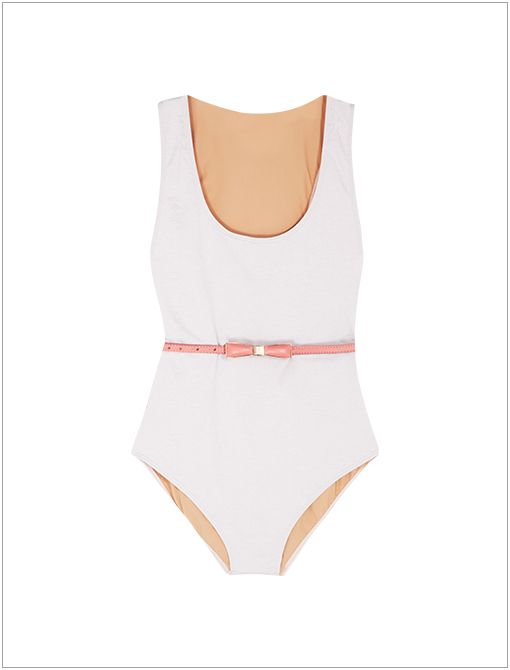 Los Angeles Swimsuit ($293) in Pale Pink, styled with B-Low the Belt Bowie Belt ($105)