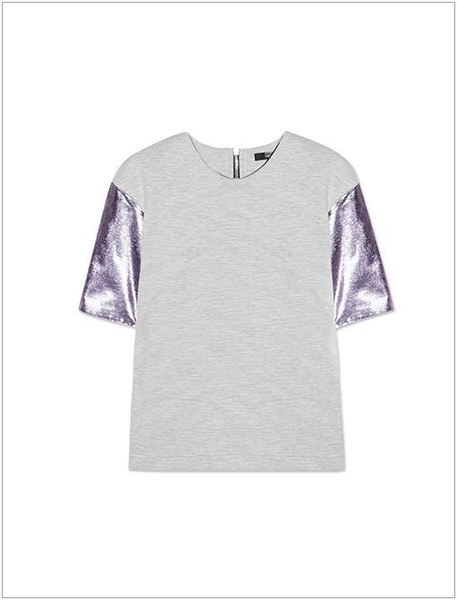 Metallic-Sleeve Cotton-Blend Stretch-Jersey Top ($317)