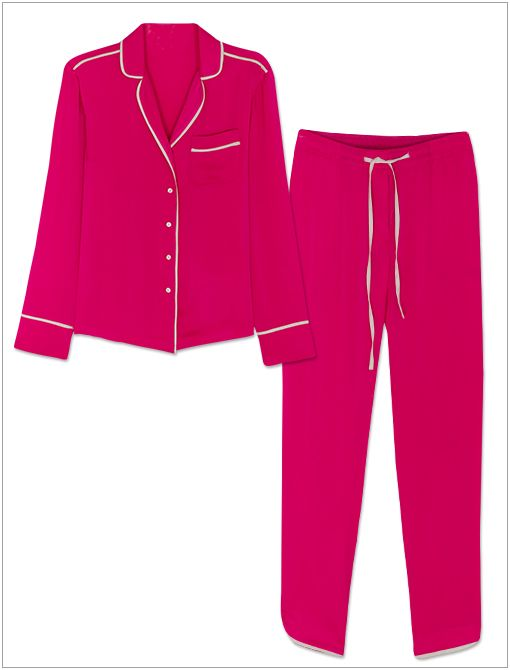 Long-Sleeve V-Neck Pajama Shirt and Pants ($79 each) in Fuchsia