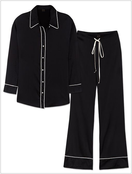 Noir Nightshirt ($123) and Noir Pajama Pants ($151) in Black/Cream