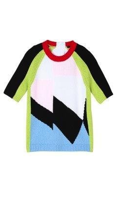 Tibi Tibi-Isosceles Intarsia Short Sleeve Sweater