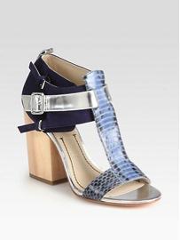 Elizabeth and James Elizabeth and James Carri Snake-Print Leather Sandals