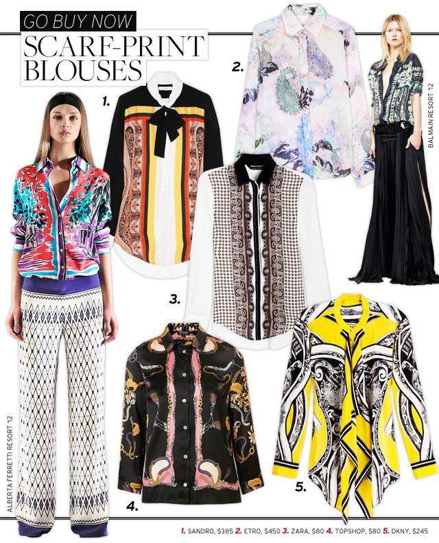 Scarf-Print Blouses