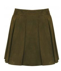 Alice + Olivia  Alice + Olivia Milo Leather Box Pleat Mini Skirt