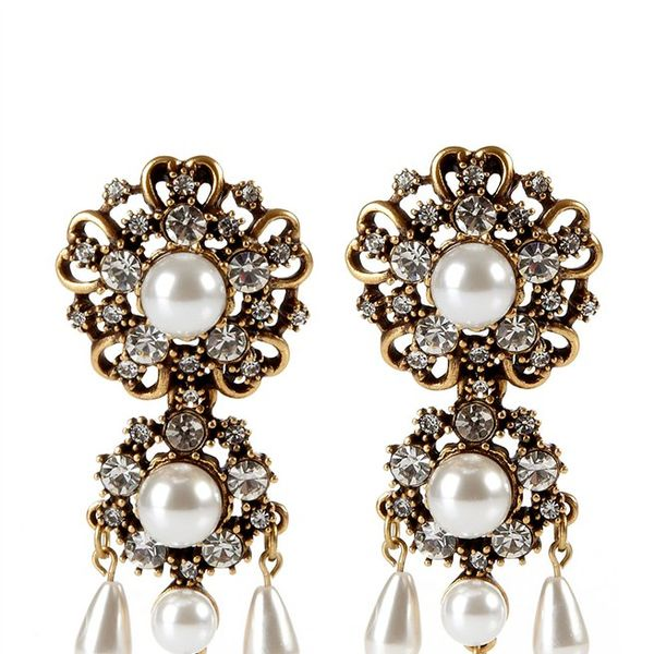 Oscar de la Renta  Baroque Drop Earrings