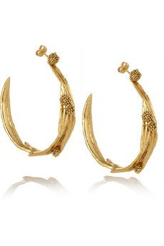 Aurelie Bidermann  Surfing Mimosa Gold-Plated Hoop Earrings