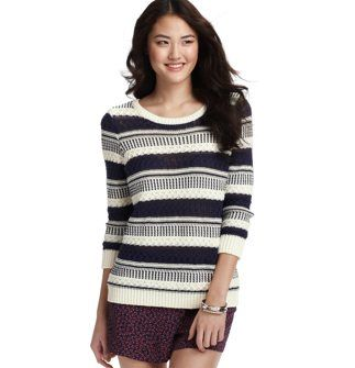 LOFT  Textural Tie Back Sweater
