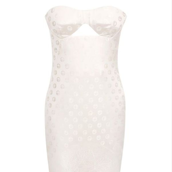 Alexander McQueen Ivory Bustier Monogram Spot Jacquard Dress