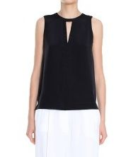 Silk Split Neck Top  Tibi