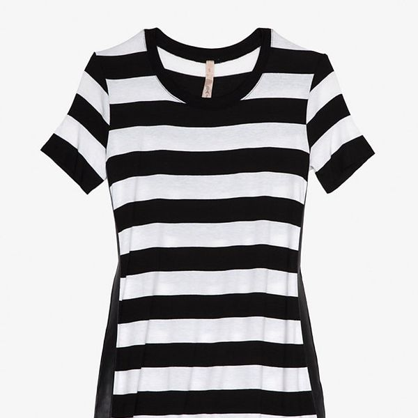 Bailey 44  Exclusive Stripe Leather Detail Tee
