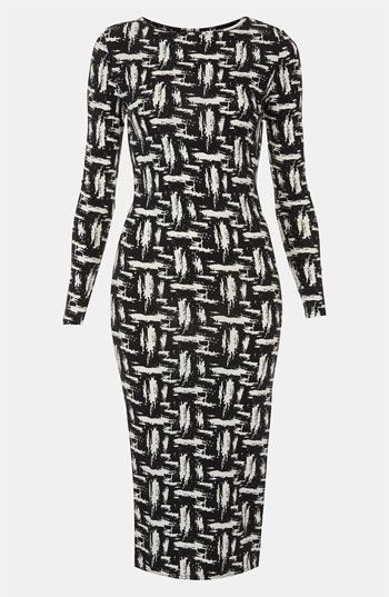 Topshop  Scratch Graffiti Midi Dress
