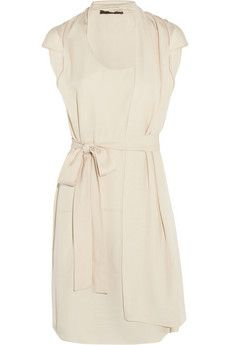 Halston Heritage  Asymmetric Draped Crepe Dress