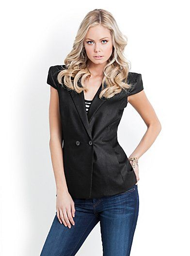 Guess Liz Cap-Sleeve Suiting Vest