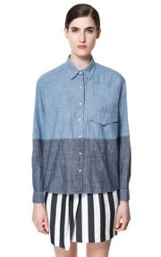 Zara  Two-Tone Chambray Shirt
