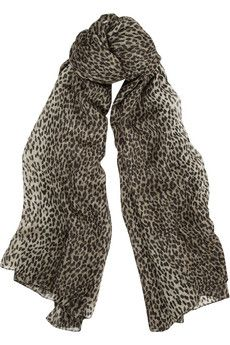 Saint Laurent Leopard-Print Cashmere And Silk-Blend Scarf