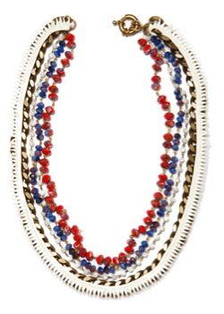 Annelise Michaelson Annelise Michaelson Leather Embroidered on Gold Chain