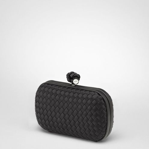 Bottega Veneta Nero Satin Knot Clutch