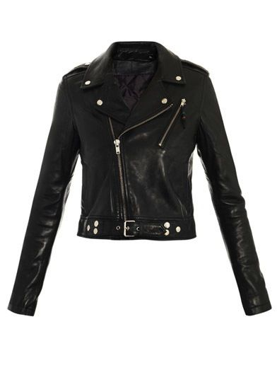 BLK DNM  BLK DNM Cropped Biker Leather Jacket