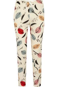 Sonia Rykiel  Printed Silk Wool Pants