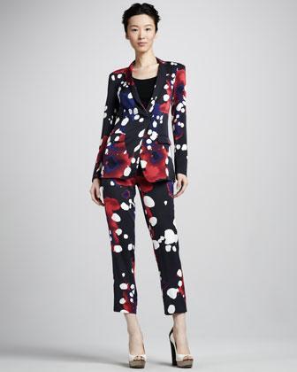 Diane von Furstenberg  Vint Splash-Print Jacket and Benett Splash-Print Cropped Pants