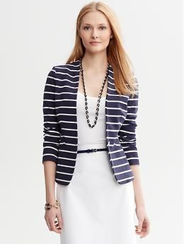 Banana Republic Striped Ponte Modern Blazer