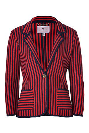 Juicy Couture  Siren/Royal Navy Wool Nautical Knit Striped Blazer
