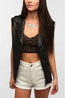 Tripp NYC  Oversized Faux Leather Moto Vest