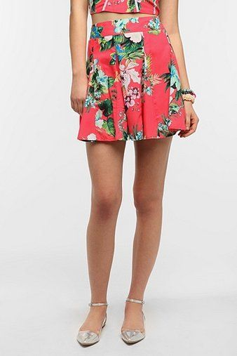 Urban Outfitters Fire Tropical Woven Circle Skirt