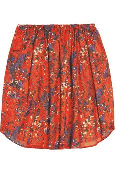 Carven Printed Cotton-Voile Mini Skirt