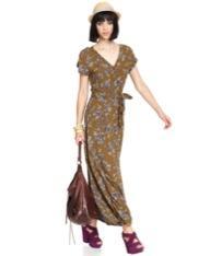 Bar III  Short-Sleeve V-Neck Floral-Print Maxi Dress