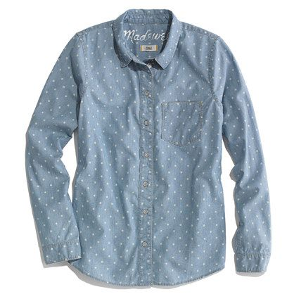 Madewell  Dotted Chambray Boyshirt