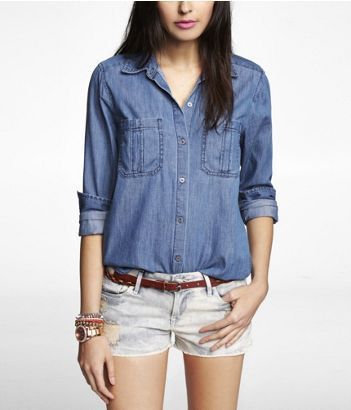 Express  Dark Wash Denim Shirt