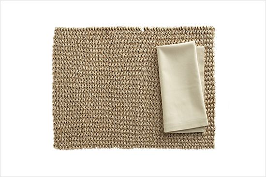 Crate & Barrel  Lanai Placemat and Cotton Ecru Napkin