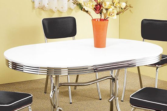 Modern Furniture Warehouse Oval Retro Dining Table in White