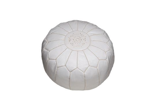 Moroccan Buzz Imports White Leather Pouf