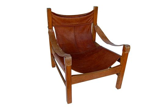 Haskell Antiques Leather Mid Century Safari Chair