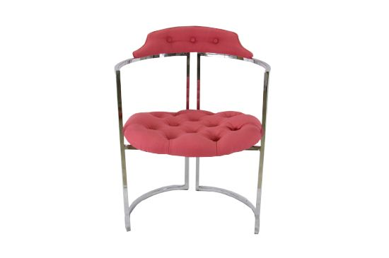 Etsy Vintage Chrome and Hot Pink Tufted Chair