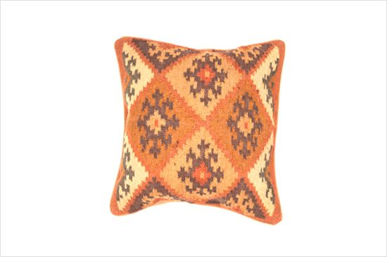 Overstock.com Traditional Wool/Jute Brown/ Red Square Pillow