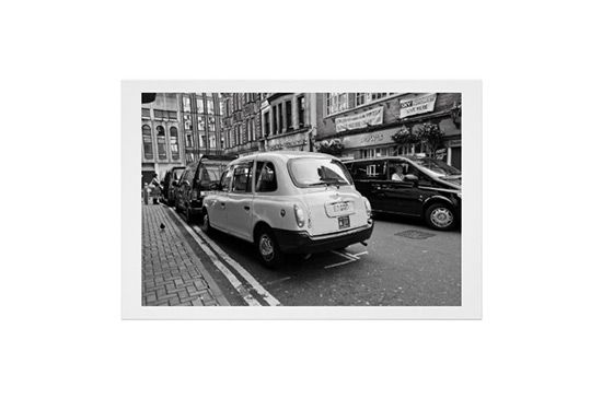 Zazzle Taxi cars, close up, black and white poster