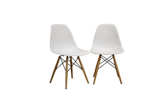 EB Peters Eiffel Wood White Side Chair Set of 2