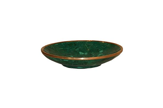 Malachite Home Malachite Bowl with Brass Rim