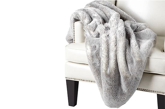Z Gallerie Faux Chinchilla Throw